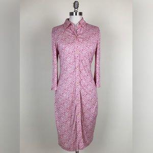 Tibi Floral Print Button Down Shirt Dress